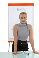 Assertive blond woman stood by flip-chart