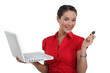 Woman with a laptop and usb key