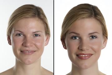 Portrait einer jungen Frau mit und ohne Make up