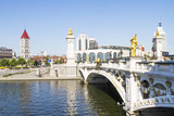 modern bridge and building in Tianjin city of China - Fine Art prints