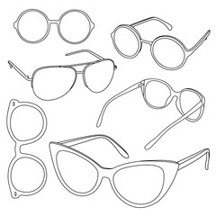 Set of sunglasses. Different shapes of glasses.