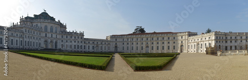 Panoramic view of Stupinigi castle near Turin, Italy