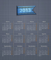 Calendar 2013 year in Spanish linen back jeans inset