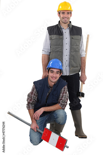 Two traffic workers