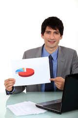 Businessman with a pie chart