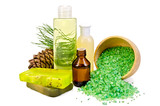 Oil with toiletries and cedar cones poster
