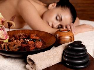 Young woman relax in beauty spa salon