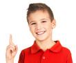 Portrait of cheerful boy with good idea