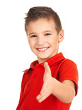 Portrait of smiling boy showing handshake gesture