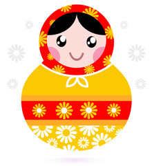 Cute wooden Russian doll - Matrioshka ( yellow and red )
