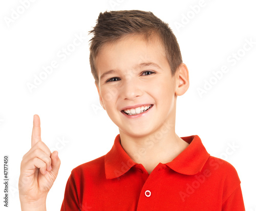 Portrait of cheerful boy with good idea