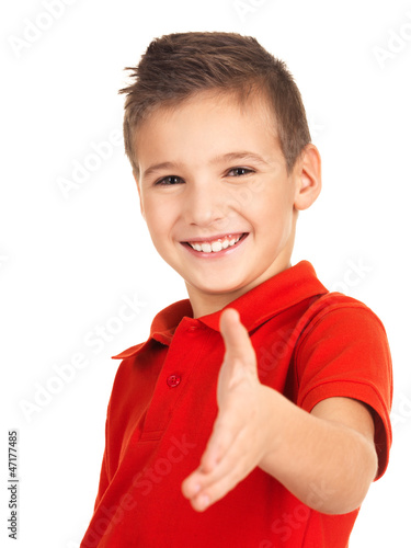 Portrait of smiling boy showing handshake gesture