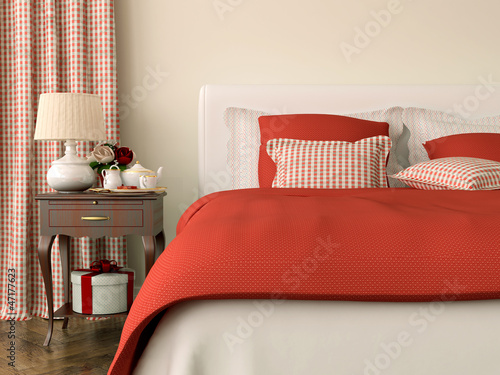 Bedroom with red decorations