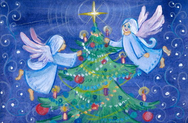Angels decorating Christams tree.Watercolors