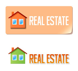 Real estate banner with house icon