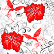 Hawaiian seamless patterns with hibiscus and Hummingbirds