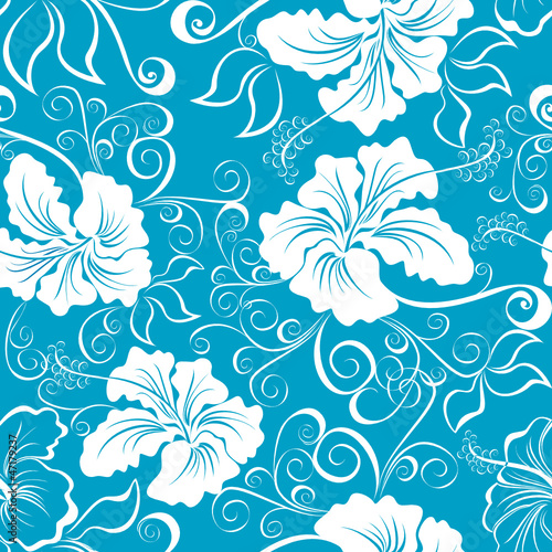 Hawaiian patterns. Seamless background with hibiscus flower
