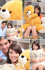 Mosaic of couple with cuddly toys