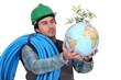Plumber holding globe