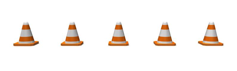 row of traffic cones