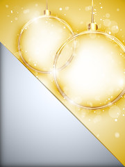Merry Christmas Happy New Year Ball Golden with Stars and Snowfl