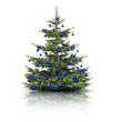 Weihnachtsbaum mit Blauen Kugeln