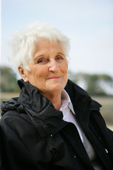 Senior lady in a black coat