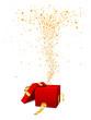 Geschenk, Geschenkpaket, Paket, Kiste, offen, Sterne, Fontäne