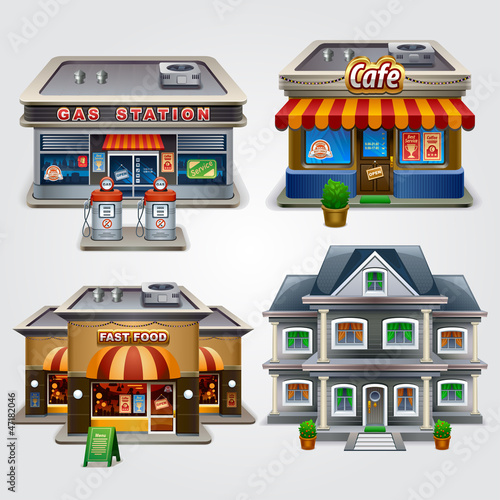 Store, gas station, cafe, fast food and house