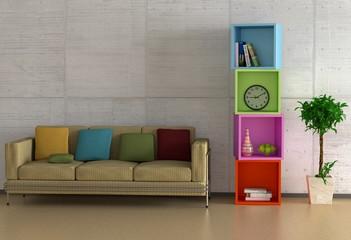 Sofa und Regal