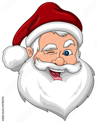 Winking Santa Claus Face Side View