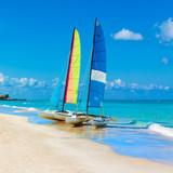 Sailing boats on a tropical beach in Cuba