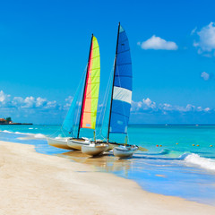 Sailing boats on a tropical beach in Cuba