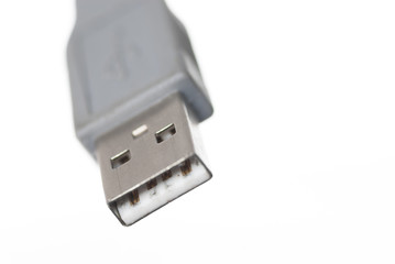 Macro USB Connector White Background.