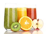 Fototapety Fresh fruit juices isolated on white