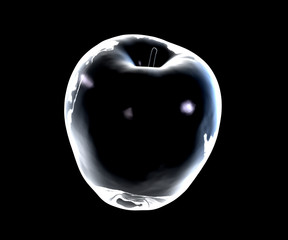 Glass apple on a dark background