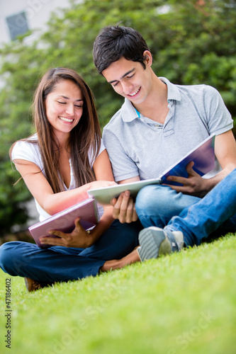 Couple of students outdoors
