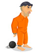Cartoon illustration of a man being chained to iron ball