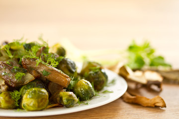 roasted brussels sprouts and mushrooms