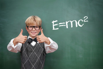 Schoolboy at the Blackboard with E=mc