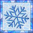 Snowflake stained glass window with frame.