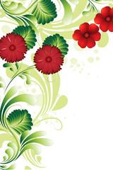 coin floral vert et rouge