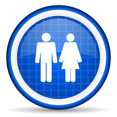 couple blue glossy icon on white background