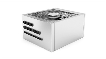 Power supply unit rotates on white background