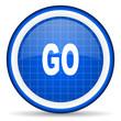 go blue glossy icon on white background