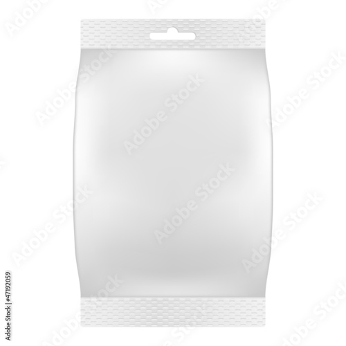 Blank white bag packaging for wipes, tissues or food. Vector
