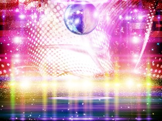 Abstract disco ball_Background with lights.