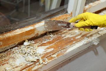 Old window restoration, remove paint with scraper