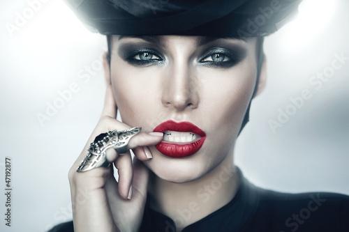 Leinwandbild Motiv Sexy strict woman with red lips