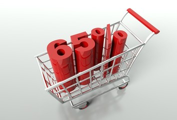 Shopping cart and sixty five percent discount